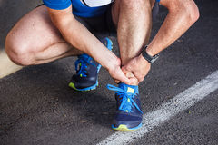 Broken twisted ankle. Running sport injury Stock Photos