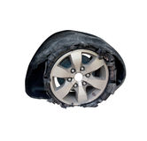 Broken tyre isolate on white Stock Photography