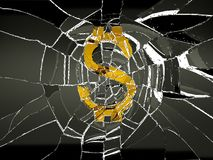 Broken US dollar symbol and shattered glass. Decline and recession stock illustration