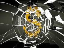Broken US dollar symbol and shattered glass on white. Decline and crisis royalty free illustration