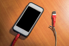 Broken usb charger cable Royalty Free Stock Image