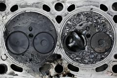 Broken valve in car engine Stock Photo