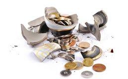 Broken Vase With Money Inside Stock Image