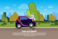 Broken Vehicle On Road Need Help And Technical Assistance Car Accident Concept. Vector Illustration Royalty Free Stock Photos