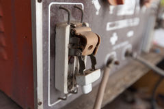 Broken vintage retro large electric circuit breaker with protect Royalty Free Stock Photos