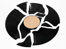 Broken vinyl record Royalty Free Stock Images