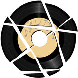 Broken vinyl Record with music label Stock Photos