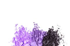 Violet gradient Eye shadow set isolated on white background. A broken Violet gradient colored eye shadows isolated on a white background. Top view, flat lay stock image