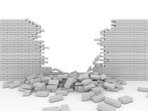 Broken wall. 3d imagen, business concept Stock Photo