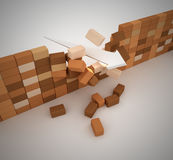 Broken wall. Computer generated image. 3d render Royalty Free Stock Photos