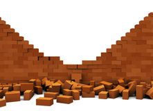 Broken wall. 3d illustration of broken brick wall, over white background Royalty Free Stock Image