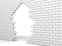 Broken wall. Broken brick wall of white color Stock Image