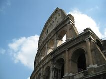 broken-wall-of-the-colloseum-against-clouds Stock Photography