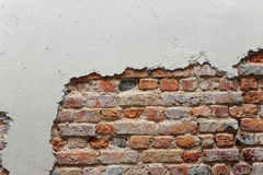 Broken wall with red brick Royalty Free Stock Images