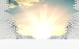 Broken wall of white bricks and beautiful sunrise. Broken wall of white bricks. Behind the wall is a beautiful sunrise or sunset. The concept of success. 3d Royalty Free Stock Images