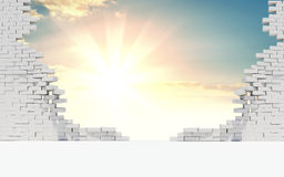 Broken wall of white bricks and beautiful sunrise. Broken wall of white bricks. Behind the wall is a beautiful sunrise or sunset. The concept of success. 3d Royalty Free Stock Image