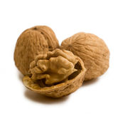 Broken walnut isolated Stock Photos
