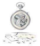 Broken watch. Steel broken watch with clockwork. On floor black numerals Royalty Free Stock Images