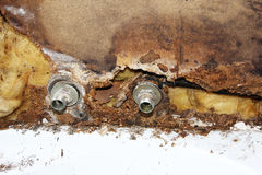Broken water pipe stock photos