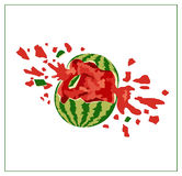 Broken watermelon on white background.  Royalty Free Stock Image