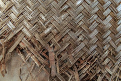 Broken weave bamboo wall Stock Photo