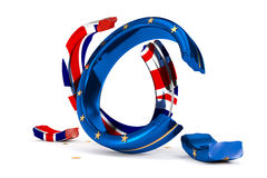 Broken Wedding Rings symbolize the Brexit. 3D Illustration; broken Wedding Rings symbolize the Brexit Royalty Free Stock Photos