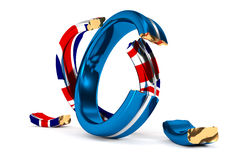 Broken Wedding Rings symbolize the Brexit. 3D Illustration; broken Wedding Rings symbolize the Brexit Royalty Free Stock Photography