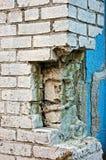 Broken white brick wall Stock Image