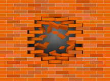 Broken white brick wall with flying bricks Royalty Free Stock Photo