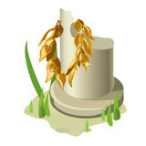 Broken white column and gold olive wreath Royalty Free Stock Image