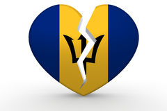 Broken white heart shape with Barbados flag Stock Photography