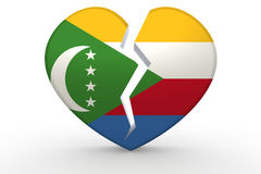 Broken white heart shape with Comoros flag Royalty Free Stock Photography