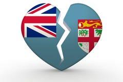 Broken white heart shape with Fiji flag. 3D rendering Royalty Free Stock Photo