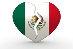 Broken white heart shape with Mexico flag. 3D rendering Stock Photo
