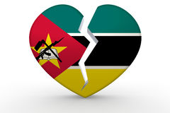 Broken white heart shape with Mozambique flag Royalty Free Stock Photography