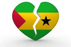 Broken white heart shape with Sao Tome and Principe flag Stock Photo