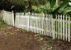 Broken White Picket Fence Royalty Free Stock Images