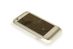 Broken White Silver Smartphone  Royalty Free Stock Images