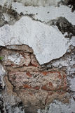 Broken White Stucco Wall with Weathered Brick Texture Royalty Free Stock Images