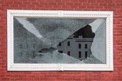 Broken White Window Frame Stock Images