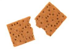 Broken whole grain crisp bread. Royalty Free Stock Image