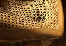 Broken wicker chair seat Royalty Free Stock Photos