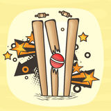 Broken Wicket Stumps for Cricket Sports concept. Stock Photography