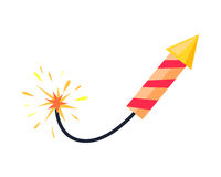 Broken-winded Firework Rocket Isolated on White. Inflamed firework rocket isolated on white background. Kind of pyrotechnics with red stripes and yellow nose in Royalty Free Stock Photos