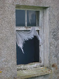 Broken window. In a derelict building Stock Photography