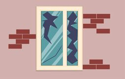 Broken window of an abandoned house. Plastic broken window in a brick house. Vector illustration royalty free illustration