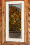 Broken window in an abandoned wooden building royalty free stock photo