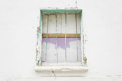 Broken window with bars Royalty Free Stock Photos