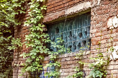 Broken window in brick building Royalty Free Stock Images