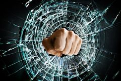 Broken window fist Royalty Free Stock Photos